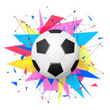 Football emblem template. Soccer ball with colorful geometric triangle shapes, modern abstract paper explosion Stock Image