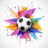 Football emblem template. Soccer ball with colorful geometric triangle shapes, modern abstract paper explosion. Dynamic, energy sport banner design. Vector Royalty Free Illustration