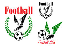 Football emblems with winged boots and balls. Football or soccer emblems with winged boots, balls and laurel wreath Royalty Free Stock Photography