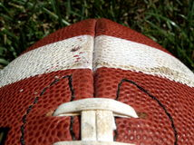 Football end. Close-up of an American football stock photo