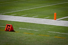 Football End Zone Post and Line Royalty Free Stock Photos