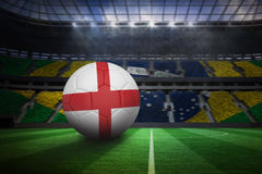 Football in england colours. In large football stadium with brasilian fans stock illustration