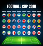 Football 2018, Europe Qualification, all Groups stock illustration