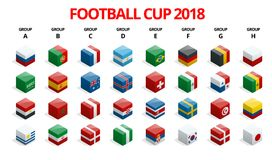 Football 2018, Europe Qualification, all Groups. World Cup Background Template. Vector illustration Royalty Free Stock Photo