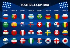 Football 2018, Europe Qualification, all Groups. World Cup Background Template. Vector illustration Stock Photos