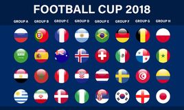 Football 2018, Europe Qualification, all Groups Vector illustration. Football 2018, Europe Qualification, all Groups Vector illustration Royalty Free Stock Photos