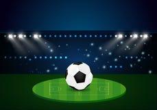 Football Evening stadium arena soccer. Field championship. celebration gold confetti Royalty Free Stock Photo