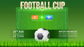 Football event poster design. Soccer stadium on backdrop with big ball. Text design and emblem of participants Stock Image