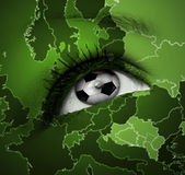 Football eye with european map texture Royalty Free Stock Images