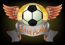 Football fair play badge on dark background Royalty Free Stock Image