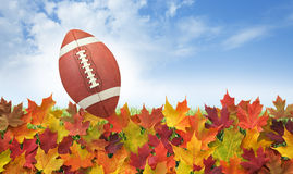 Football with fall leaves on grass, blue sky and clouds. College style football with fall leaves on grass, blue sky and clouds Royalty Free Stock Photo