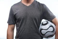 Football fan with ball Stock Photo