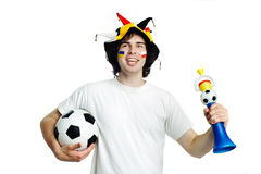 Football fan with ball and trumpet Stock Photography