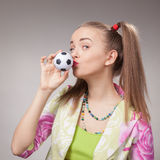 Football fan beautiful young girl Royalty Free Stock Photos