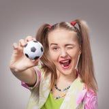 Football fan beautiful young girl Stock Photo