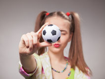 Football fan beautiful young girl Stock Images