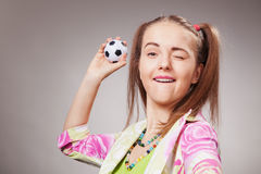Football fan beautiful young girl Royalty Free Stock Images