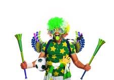 Football fan. Brazil football fan in a green wig and horns Stock Photos