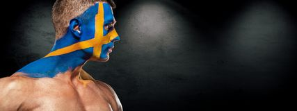 Soccer or football fan on stadium with bodyart on face - flag of Sverige. Football of fan are cheering for their team victory Stock Photography
