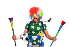 Football fan. In a coloured wig and big glasses Royalty Free Stock Photos