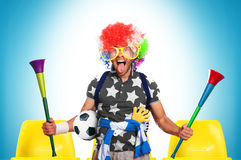 Football fan. In a coloured wig and big glasses Royalty Free Stock Image