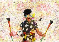 Football fan. Germany football fan in a black wig and horns Royalty Free Stock Photography