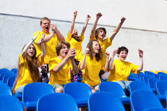 Football fan with his hands in the air Stock Photos