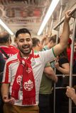 Football fan of Iran at 2018 FIFA world cup in Russia in the subway