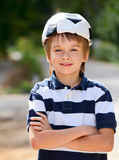 Football fan kid Royalty Free Stock Images
