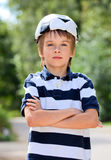 Football fan kid Royalty Free Stock Image