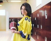 Football Fan in the Locker Room Stock Photo