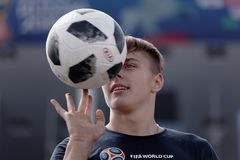 Football fan playing with ball at Saint Petersburg stadium during FIFA World Cup Russia 2018 Stock Photo