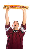 Football: Fan Is Ready To Eat Giant Sandwich Royalty Free Stock Photos