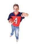 Football: Fan Ready To Take On Opposing Team Stock Image