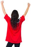 Football fan in red jersey cheering Stock Image