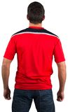 Football fan in red jersey Stock Photography