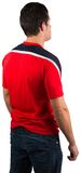 Football fan in red jersey Stock Photo
