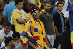 Football fan. Romanian football fan pictured during Romania - Hungary FIFA World Cup qualifier football game at National Arena, Bucharest. Romania won the match Stock Photo
