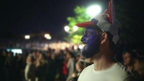 Football fan scream rejoices goal favorite team, jump person background crowd 4k stock video footage