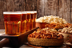 Football fan set with beer and snacks. With space for text royalty free stock photos