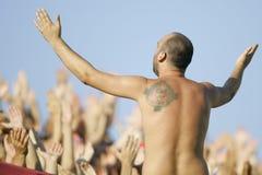 Football fan. Singing during football match Stock Photos
