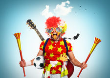Football fan. Spain football fan in a red wig and horns Stock Photo