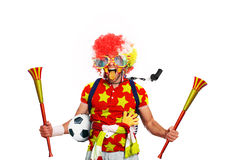 Football fan. Spain football fan in a red wig and horns Stock Photos