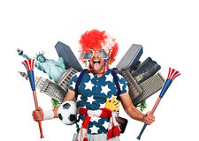 Football fan. USA football fan in a red wig and horns Royalty Free Stock Images