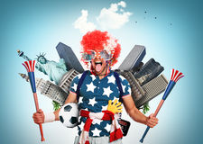 Football fan. USA football fan in a red wig and horns Stock Images