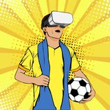Football fan in virtual reality glasses with open mouth and ball. Vector colorful illustration in retro comic style. Watching sport game pop art invitation stock illustration