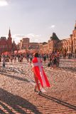 Foreign fans of the World Cup 2018 on Red Square. Stock Photo
