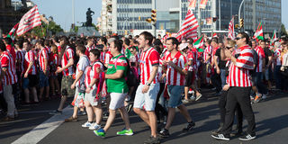 Football Fans of  Athletic Bilbao Stock Images