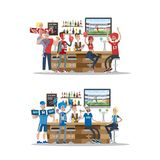 Football fans in bar. Football fans in bar with fans stuff. Red and blue Stock Photography