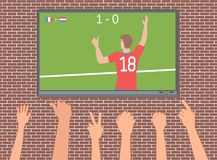 Football fans in the bar. Soccer fans watch the match on TV. Hands with different gestures for victory. Vector illustration EPS-8 Royalty Free Stock Photos